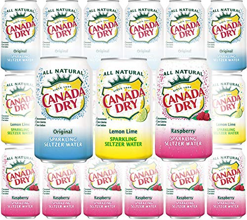 Canada Dry Original, Lemon Lime, Raspberry Sparkling Seltzer Water - Variety Pack, 12oz Can (Pack of 18, Total of 216 Oz) (Canada Dry Mandarin Orange Sparkling Seltzer Water)