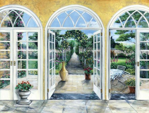 10.5-Feet wide x 8-Feet high. Prepasted robust wallpaper mural from a photo of: Down the Garden Path. Trompe l'Oeil or 3-D illusion. Our murals are easy to install remove and reuse. See our video. by Muralunique