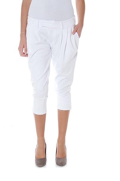 pantaloni donna pinocchietti STUDIO J 42 bianco cotone AR751 752