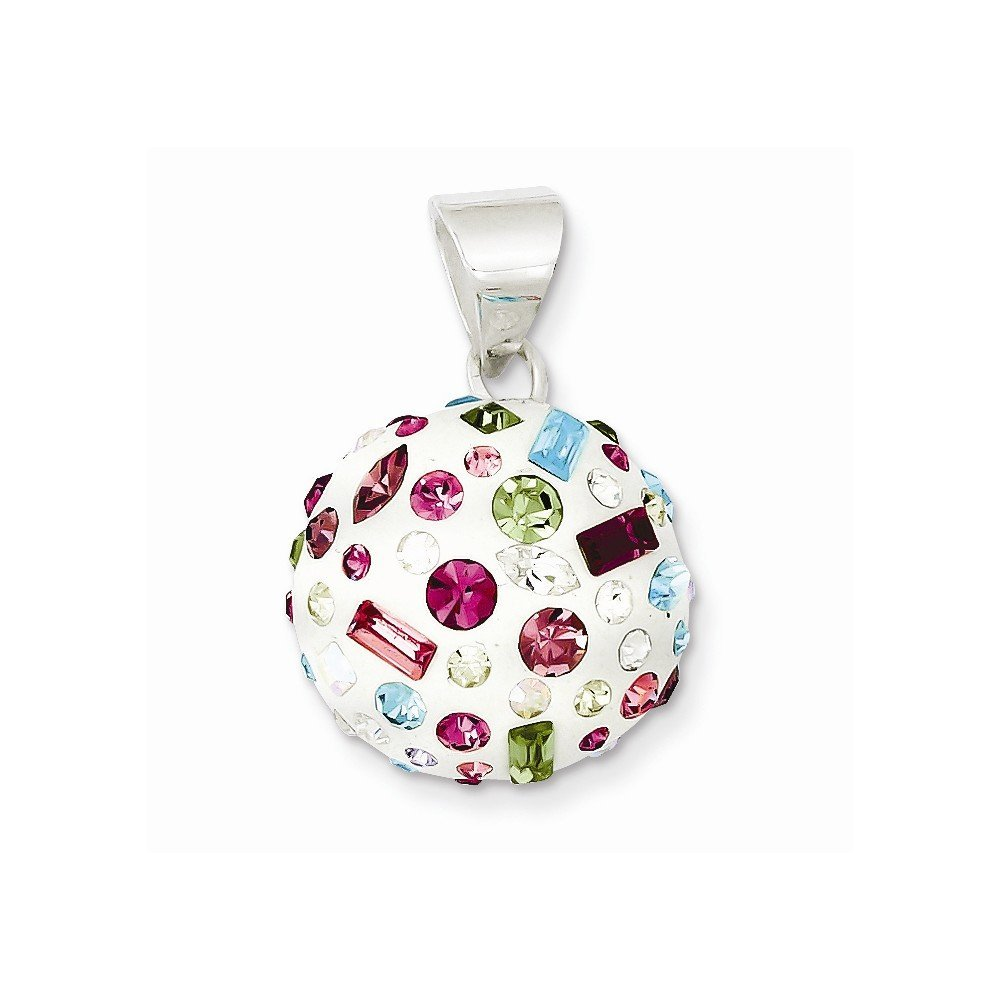 Sterling Silver Multi-Stellux Crystal /& White Round Pendant
