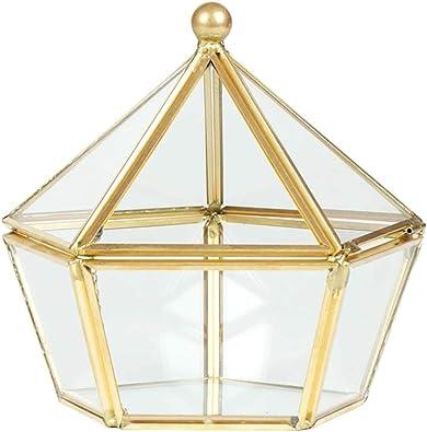 Lazder - Caja de Almacenamiento para Joyas, diseño geométrico con Forma de pentágono, Cristal Transparente y latón: Amazon.es: Joyería