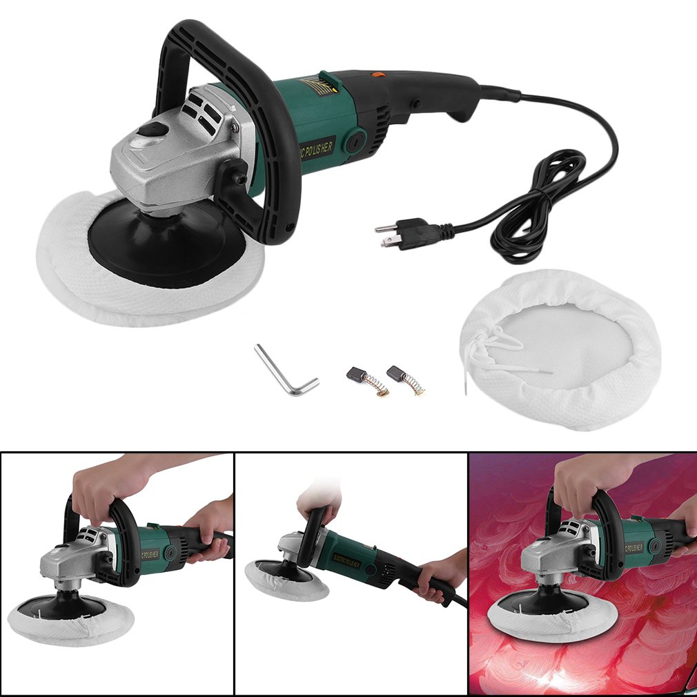 CATUO 7 inch Professional Electric 6 Variable Speed Car Polisher Buffer Waxer Sander Polishing Machine for Makita w/Carry Box & Accessories -110 V/60 Hz, 1/2'' x 11 TPI