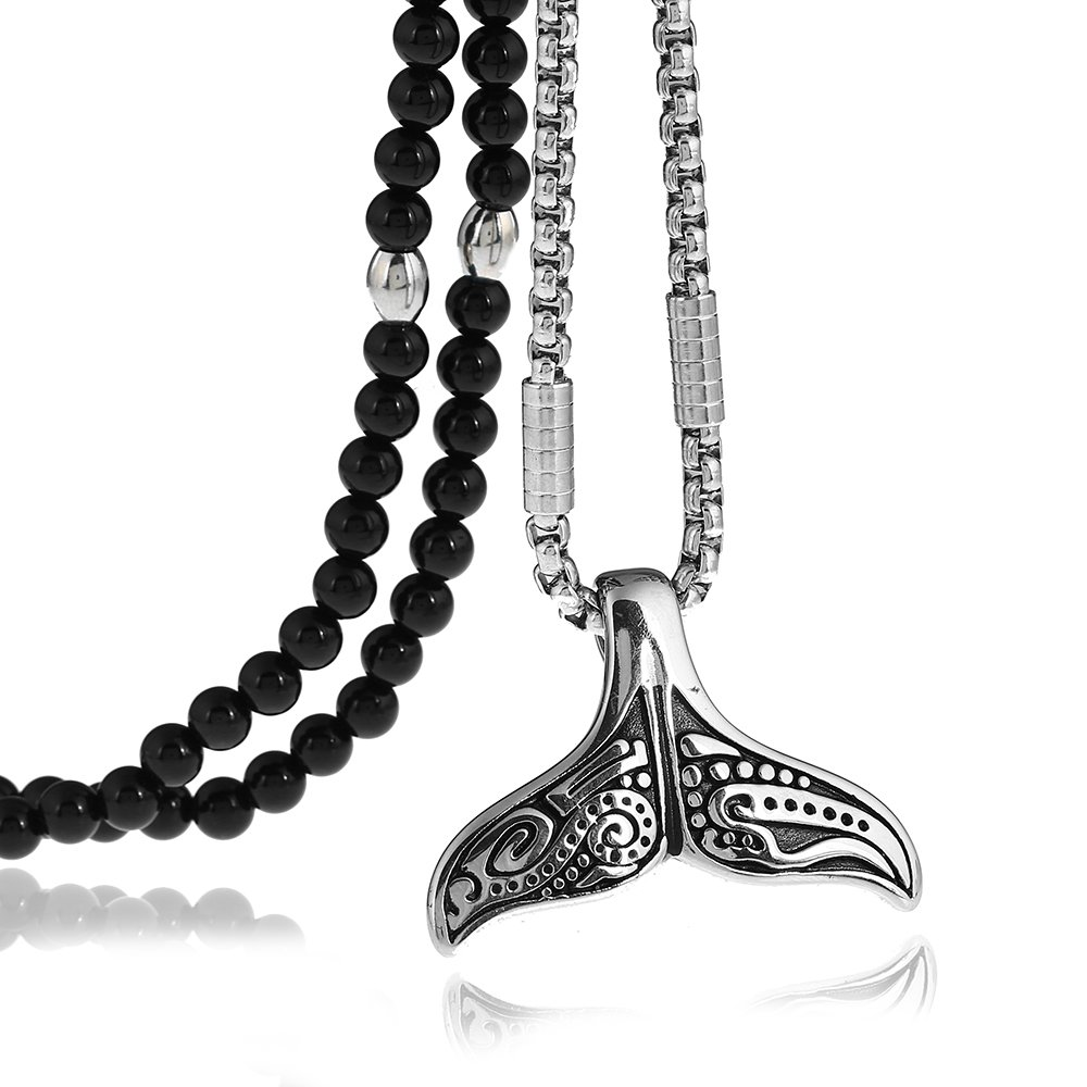 BLEUM CADE Stainless Steel 3D Mermaid Fish Tail Pendant Necklace with Black Agate Chain 27inches