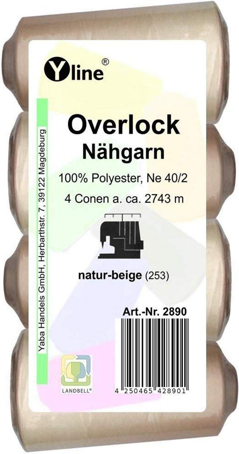 4pieza Bobinas Overlock–Hilo, natural–Beige, A. 2743M, Ne 40/2, 100% poliéster, hilo, máquinas de coser hilo, 2890