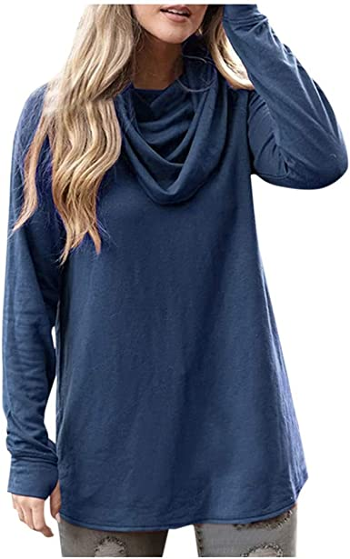 Women Long Sleeve T Shirt Basic Tops Casual Solid Blouse Loose Tunic Pullover