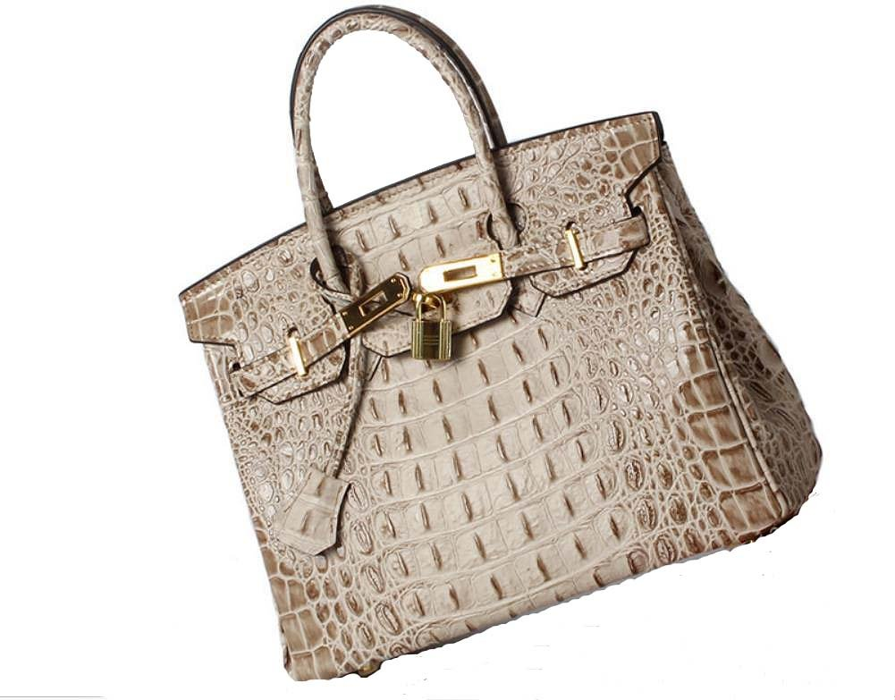 Vintage Alligator Birkin Style Bag Purse Tote Handbag (Brown, 25cm - S) by PRISTINE&BB (Image #1)