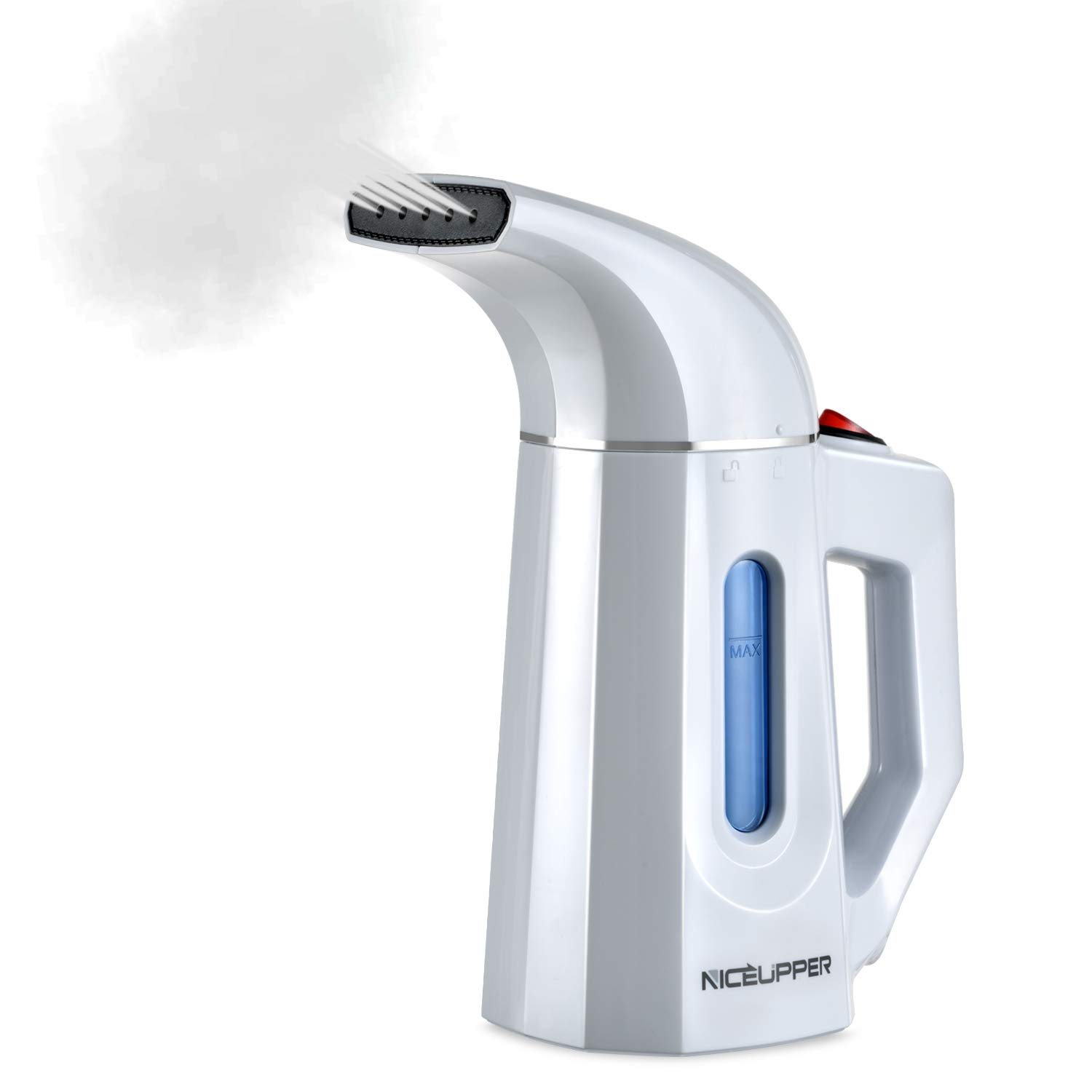 NICEUPPER Handheld Garment Steamer, 160milliliter Portable Travel Steamer for Clothes with 60 Seconds Fast Heat-Up, 10 Minutes of Continues Ironing and Automatic Shut-Off Safety Protection (White)