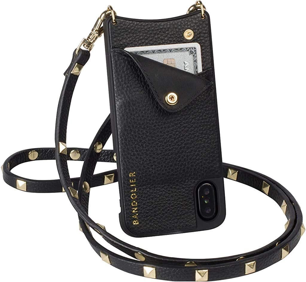 Bandolier Sarah Crossbody Phone Case and Wallet - Black Leather with Gold Detail - Compatible with iPhone XR Only