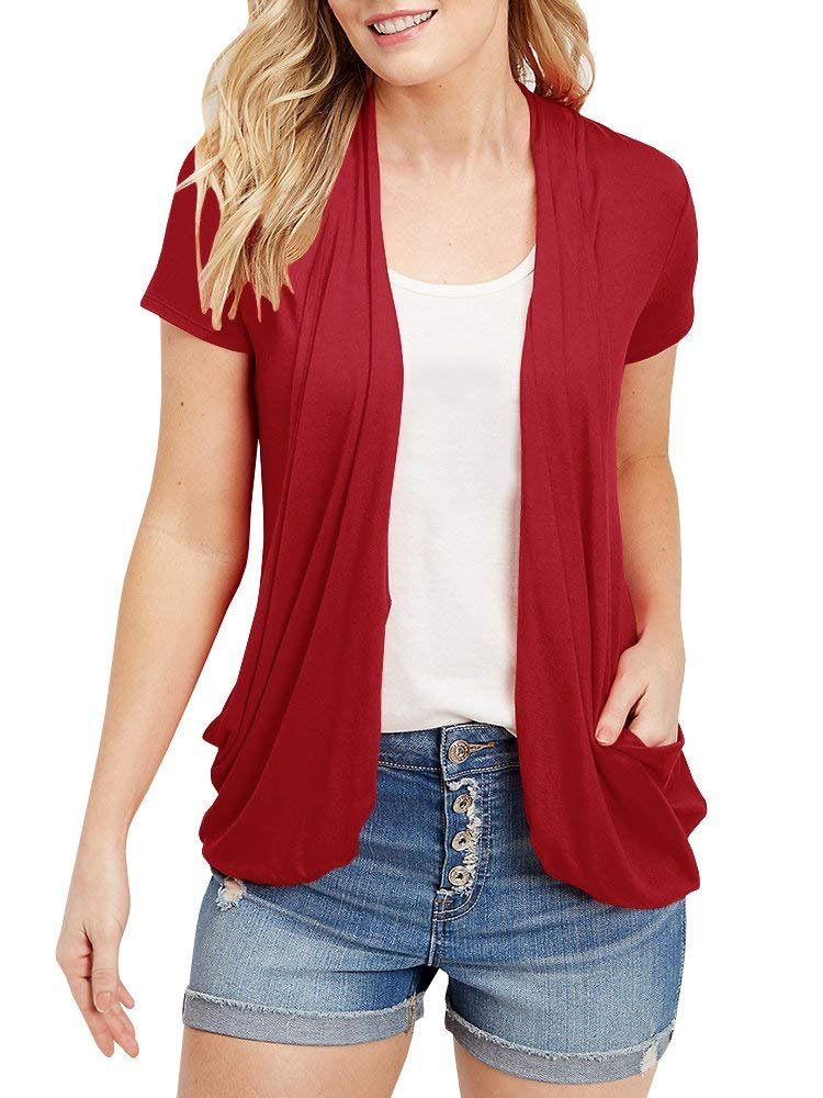 Women's Summer Draped Open Front Cardigans Short Sleeve Lightweight Tops Pockets(Red XL)