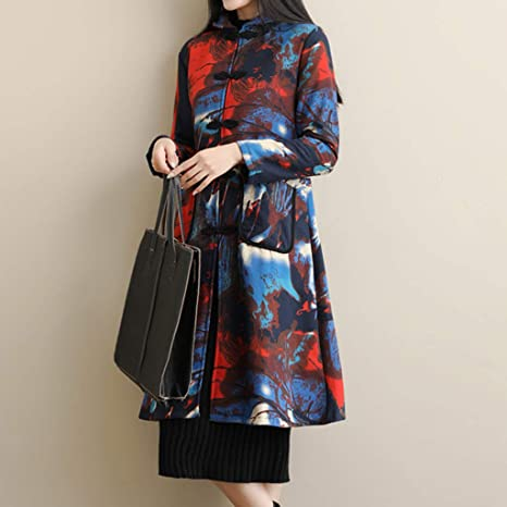 Amazon.com: AOJIAN Women Jacket Long Sleeve Outwear Temperament Folk-Custom Ink Painting Print Maxi Long Coat: Clothing