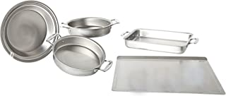 product image for 360 Stainless Steel Bakeware Set, Handcrafted in the USA, 5 Ply, Surgical Grade Stainless Bakeware, 5 Piece Set (Large Cookie Sheet, Two Cake Pans, 9x13 Baking Pan, Pie Pan)