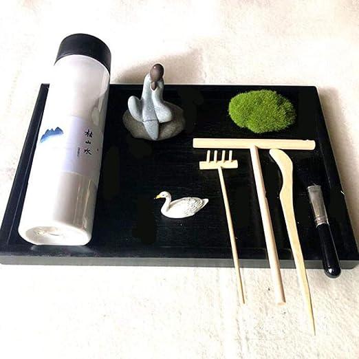 Hjyi Meditación Zen Garden,Jardin Zen Paisaje seco japonés Paisajismo Arena Fina Zen Jingjing Arte Creativo Decoración Yoga Mesa de Arena Micro Paisaje: Amazon.es: Hogar