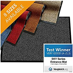 "casa pura Premium Entry Mat | Entrance Mat Comparison Test Score: Very Good (A-/1.3) | Ideal as Front Door Mat or Entry Rug | Charcoal Gray - 24"" x 36"""