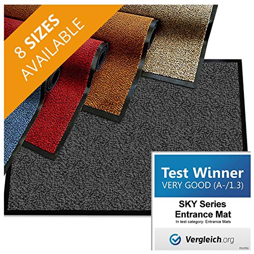 (casa pura Premium Entry Mat | Entrance Mat Comparison Test Score: Very Good (A-/1.3) | Ideal as Front Door Mat or Entry Rug | Charcoal Gray - 24