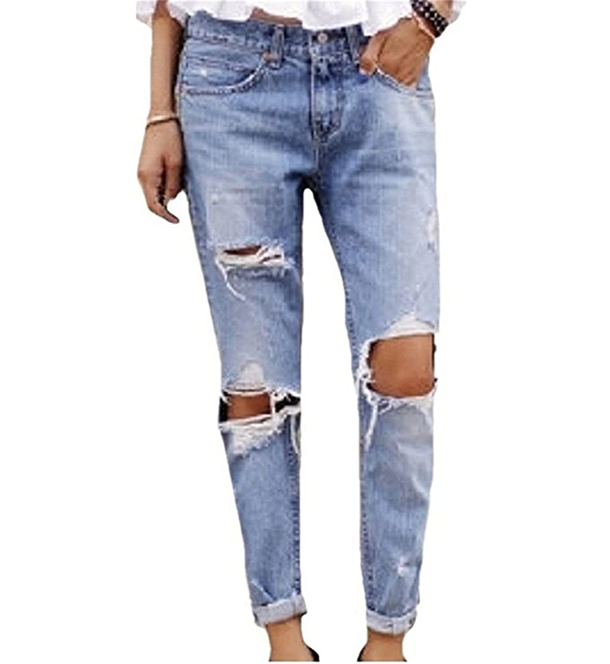 79bd0d9794e FCYOSO Women s Destroyed Jeans Ripped Washed Boyfriend Long Denim Trousers  at Amazon Women s Jeans store