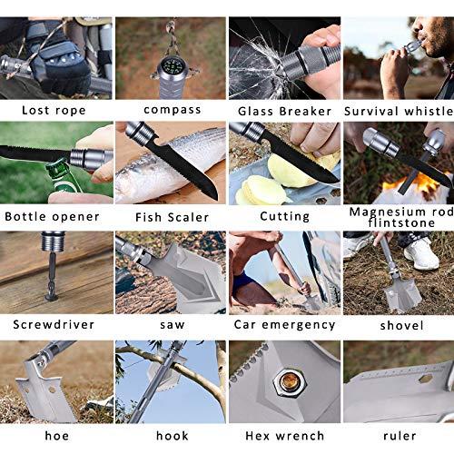 WF WU FANG Camping Shovels Military Folding Shovel Outdoor Survival Shovel Multitool High Carbon Steel Tactical Shovel with Pocket for Camping, Hiking, Backpacking, Emergency, Garden etc