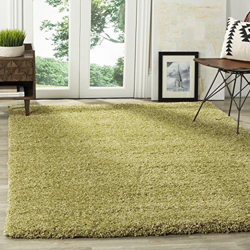 Safavieh California Premium Shag Collection SG151-5252 Green Square Area Rug (6'7