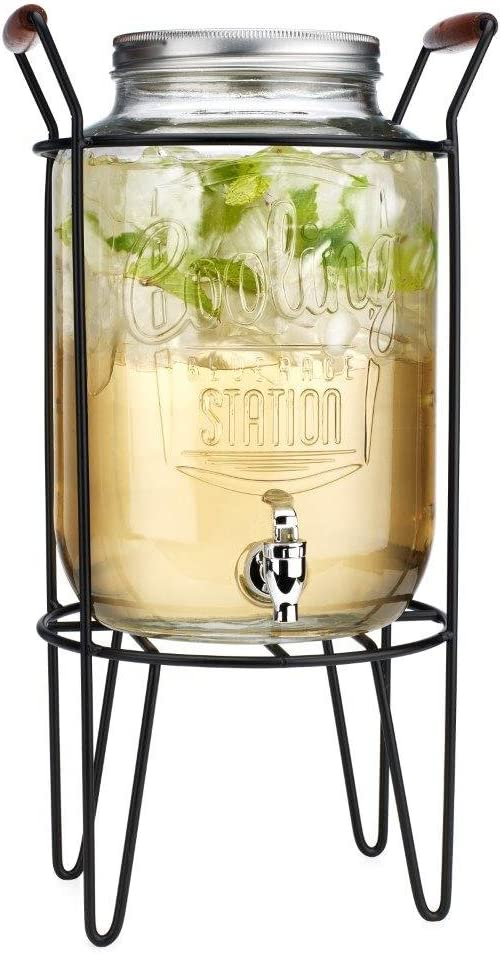 Embossed Cooling Station 2 Gallon Clear Glass Ice Cold Beverage Dispenser Mason Jar With Screw Lid, Spigot & Metal Caddy Stand- Wide Mouth For Easy Filling For Outdoors Parties & Daily Use