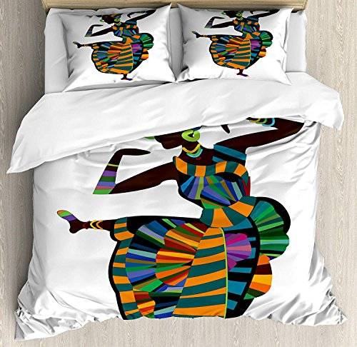Twin XL Extra Long Bedding Set, African Woman Duvet Cover Set, Black Girl in a Traditional Dress Performing an Ethnic Dance Native Zulu, Cosy House Collection 4 Piece Bedding Sets by Prime Leader (Image #1)