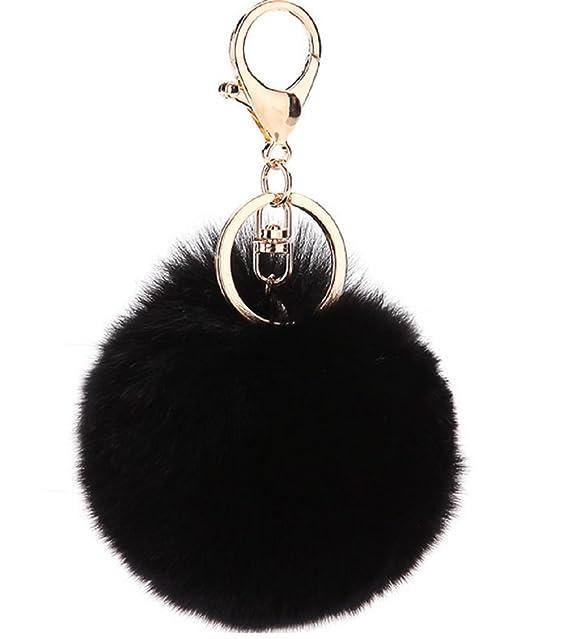 Novago llavero pelo de conejo, de tacto suave , calidad garantizada - Negro
