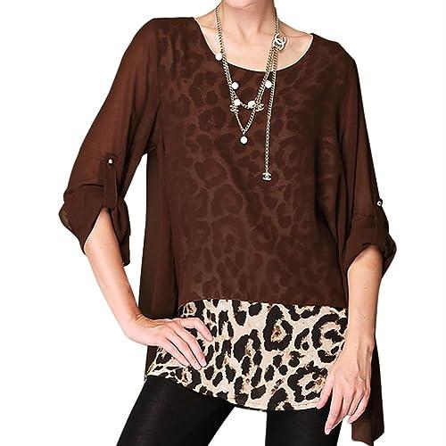 LOBZON - Camisas - Túnica - Animal Print - Cuello redondo - para mujer