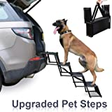 Heeyoo Upgraded Nonslip Car Dog Steps, Portable Metal Fram Large Dog Stairs for High Beds, Trucks, Cars and SUV…