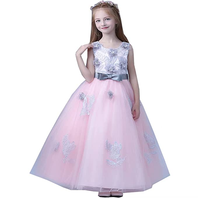 b857e972ecb Amazon.com  Tifus Dress 2018 Flower Girl Dresses for Weddings Lace Appiques  Ball Gown First Communion Dresses for Girls Kids Prom Dresses  Clothing
