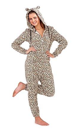 9ea44f365b Cute Ladies Leopard Print All in One Fleece Onesie with Hood and Ears