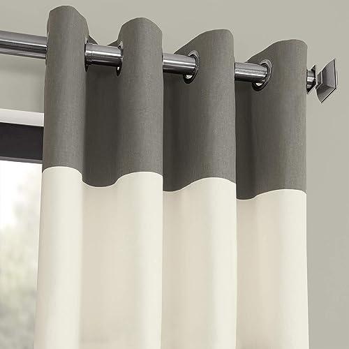 HPD Half Price Drapes PRCT-HS02-84-GR Horizontal Grommet Stripe Cotton Curtain 1 Panel