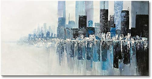 Seekland Art Hand Painted Modern Textured Wall Art on Canvas Abstract Oil Painting Contemporary Cityscape Decor Picture for Living Room Bedroom Stretched Ready to Hang Framed 48 W x 24 H