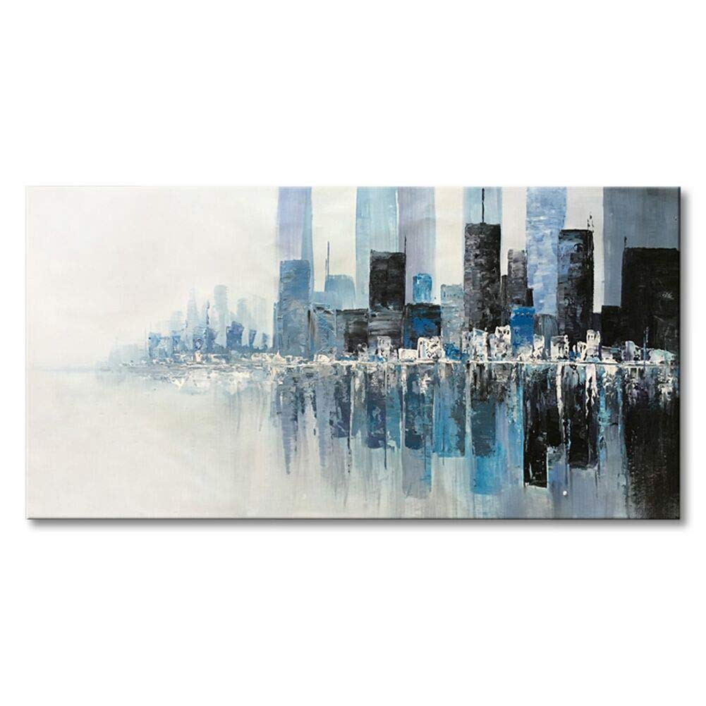 """Seekland Art Hand Painted Textured Modern Wall Art on Canvas Abstract Oil Painting Contemporary Cityscape Decor Picture for Living Room Bedroom Stretched Ready to Hang (Framed 40"""" W x 20"""" H) Seekland Painting"""