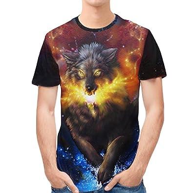 0f8390bf55e5 Ugood Mens 3D Print Slim Short-Sleeved Shirt Top Blouse Wolf (Size 2XL