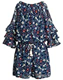 Truly Me Big Girl Fun and Bold Chiffon Romper (Many Options) Size 7-16 (Navy Multi, 16)
