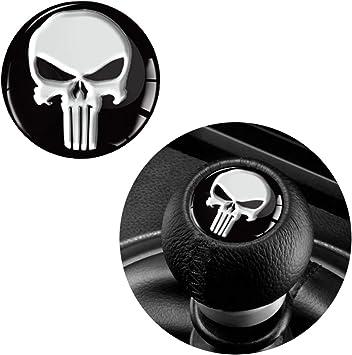 Skinoeu 1 X Schalthebel Aufkleber Schaltknauf Emblem Silikon Sticker Punisher Skull Schädel Totenkopf Durchmesser 30mm Auto Moto Zubehör Motorrad Tuning Jdm S 53 Baumarkt