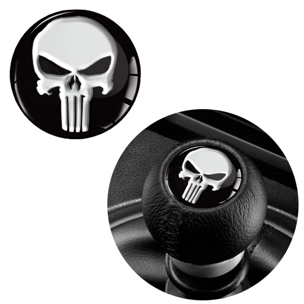1 x 3d gel silicone sticker punisher skull diameter 30mm gear lever shift knob emblem car auto moto motorcycle accessories tuning s 53 amazon co uk car