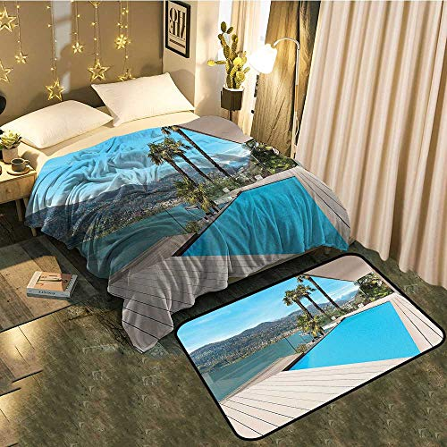 (Blanket mat Set Combination Modern House Beautiful Patio with Pool Outdoor Wooden Deck Timber Residence Pho Good for All Seasons Blanket 50