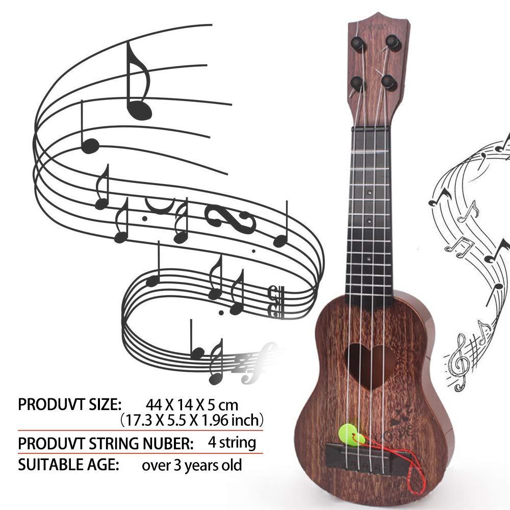 Local Makes A Comeback guitarra de Madera de juguete para ni/ños Mini de cuatro cuerdas puede tocar en la iluminaci/ón Juguete de m/úsica infantil temprana Marr/ón oscuro