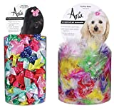Aria Dot Ribbon Bows for Dogs 100-Piece Canisters and Feather Bows for Dogs 100-Piece Canisters