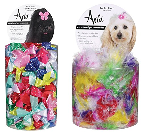 Aria Dot Ribbon Bows for Dogs 100-Piece Canisters and Feather Bows for Dogs 100-Piece Canisters Dog Barrettes Canister