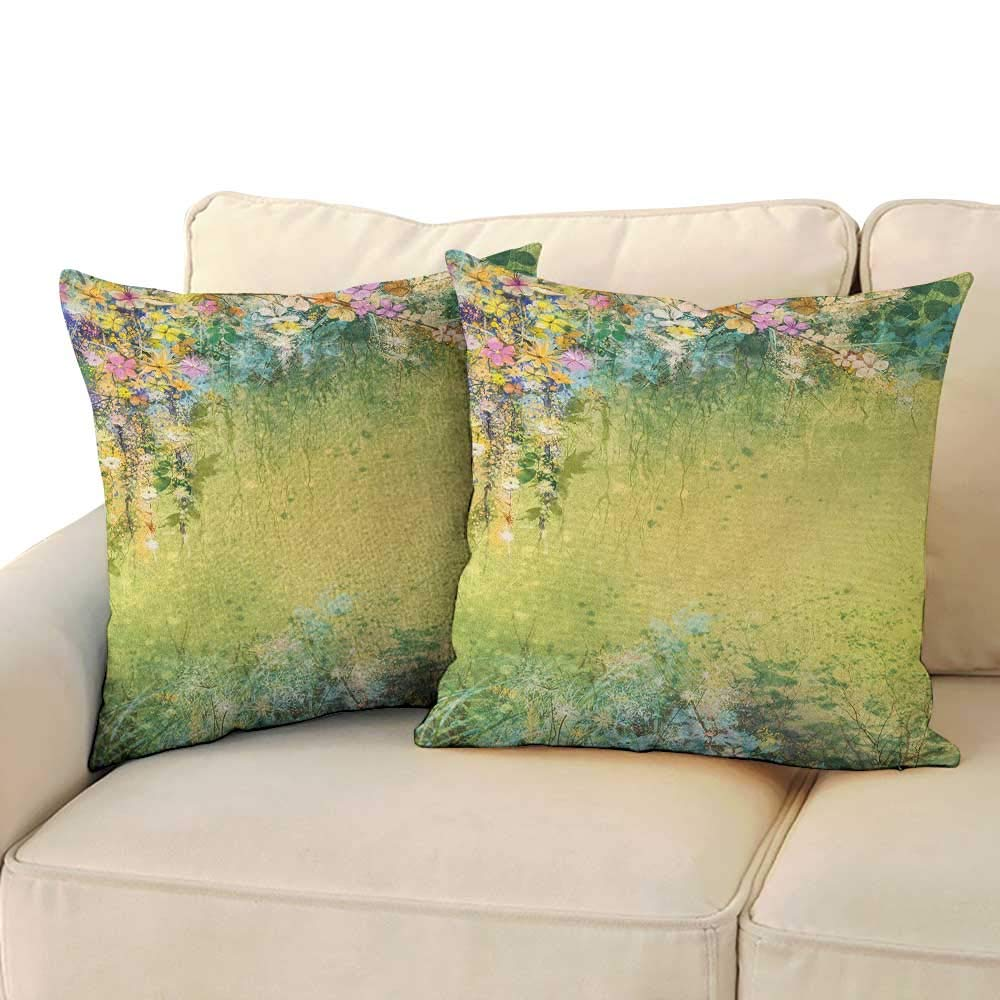RenteriaDecor Flower,Waist Throw Pillow Covers Spring Foliage with Leaves Hand Drawn Aesthetic Inspiring Envrionmental Friendly Picture 24''x 24''x2 Square 3D Pillowcase Green by RenteriaDecor