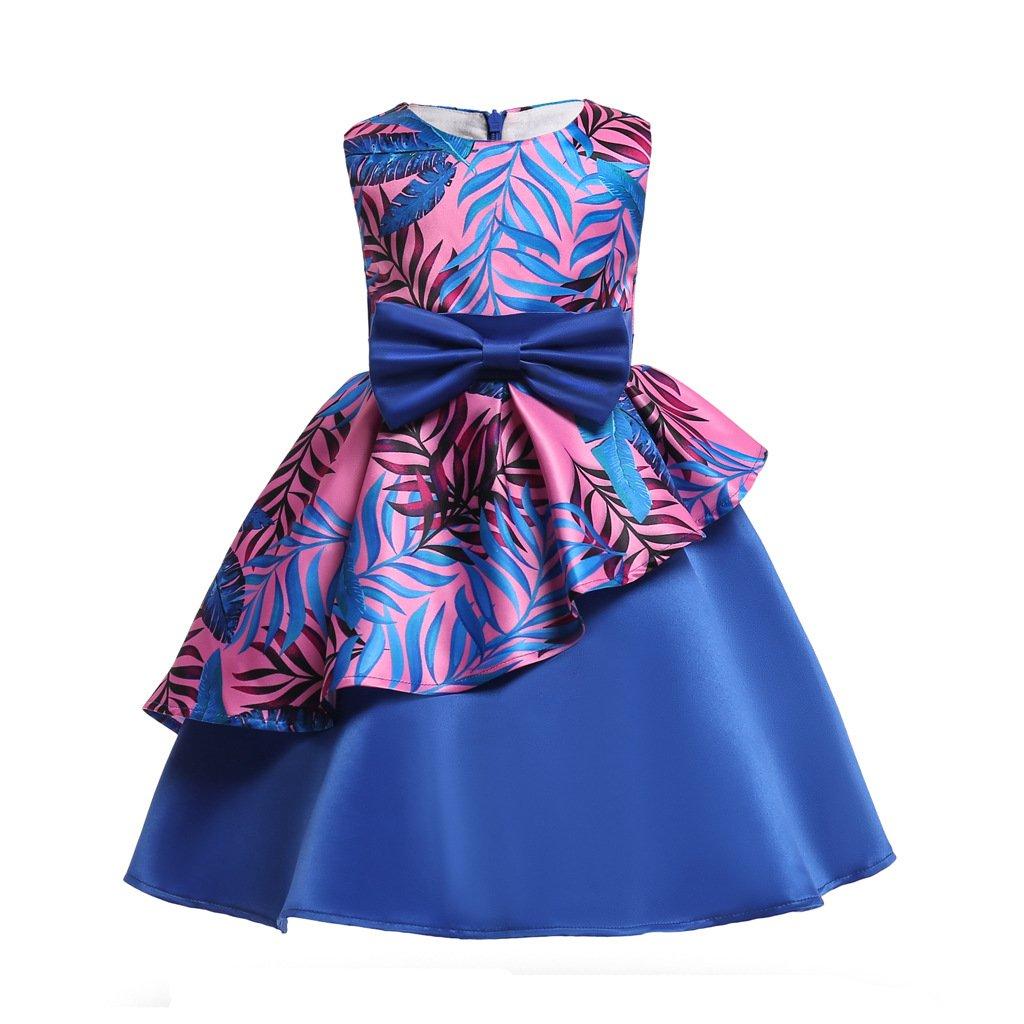 Mrsrui Little Girl Dress Kids Ruffles Lace Party Wedding Dresses Birthday Gift (140#, Purple)