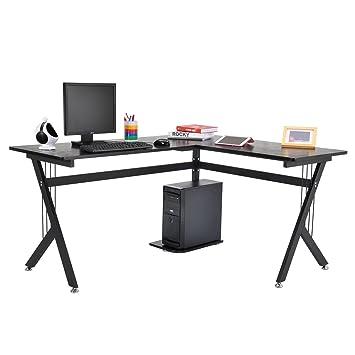 Tenive Ergonomic Corner Office Desk Workstation  L Shape Computer Desk Home  Furniture, 61u0026quot;