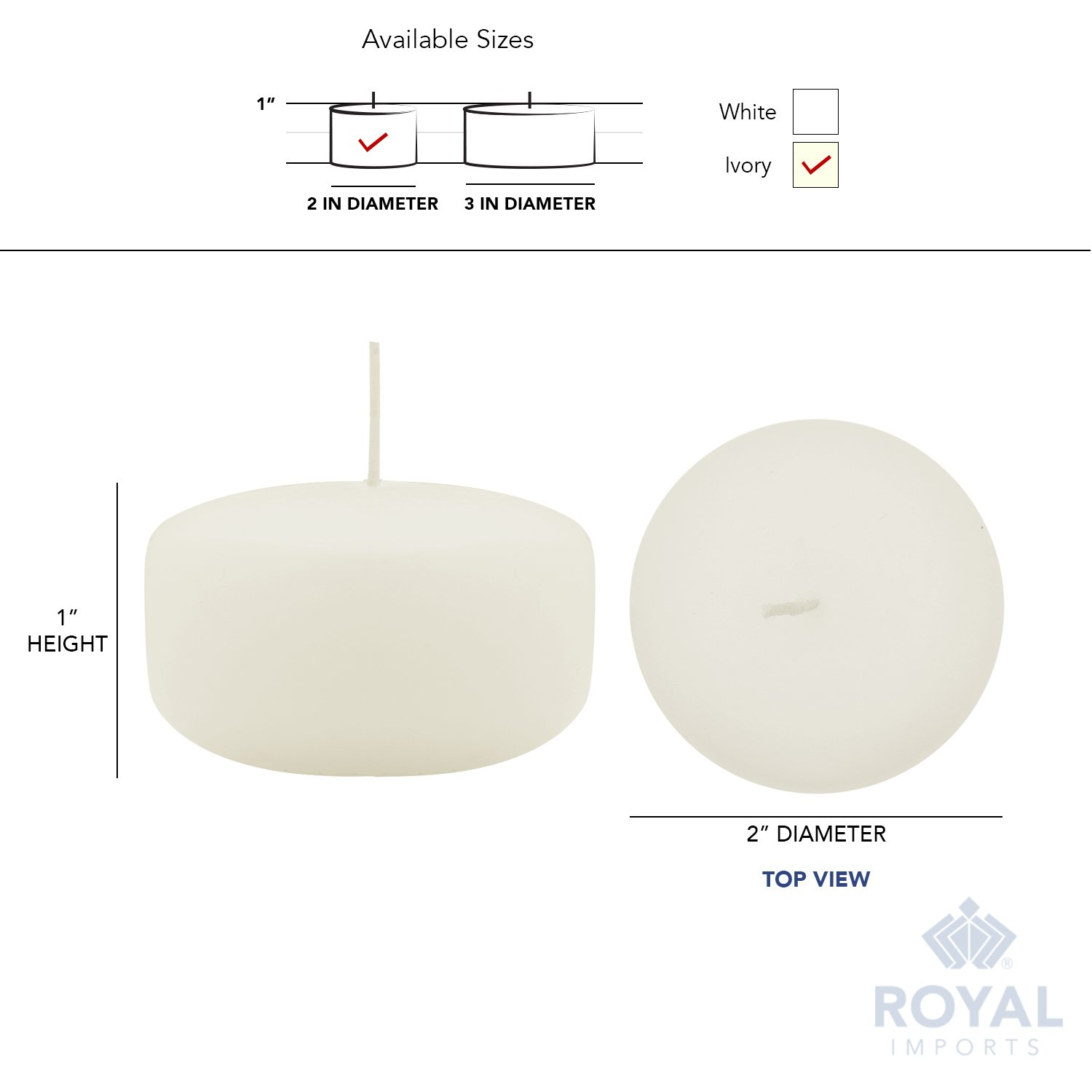 Royal Imports Floating disc Candles for Wedding, Birthday, Holiday & Home Decoration, 2 Inch, Ivory Wax, Set of 72 by Royal Imports (Image #6)