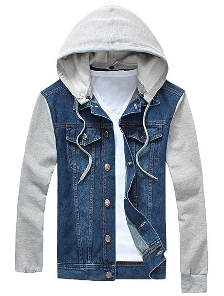 giacca jeans uomo maniche felpa