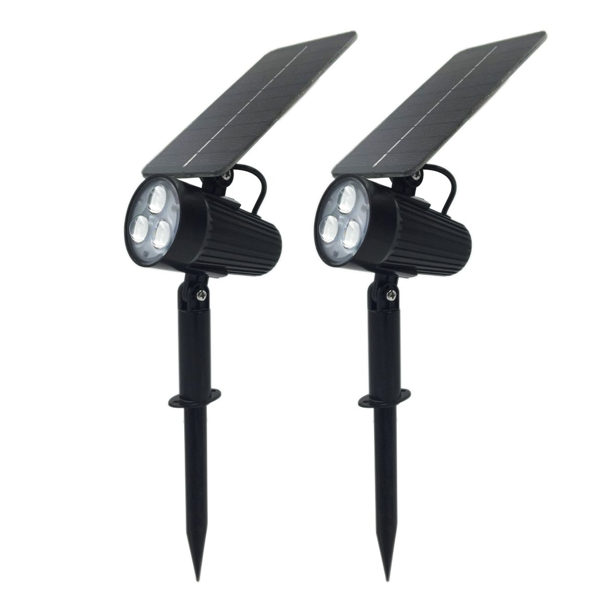 Mii-PWR Solar Spotlight, Mii 2-in-1 Waterproof Solar Outdoor Landscape Light 2 Power Modes Auto ON/OFF Night Lights for Patio Yard Garden Decoration Driveway Pathway Pool (Pack of 2)