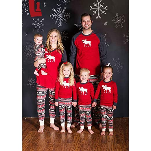 e6140d366a Image Unavailable. Image not available for. Color  SEAKCOIK Family  Christmas Pajamas Set Warm Sleepwear Nightwear Matching Outfits