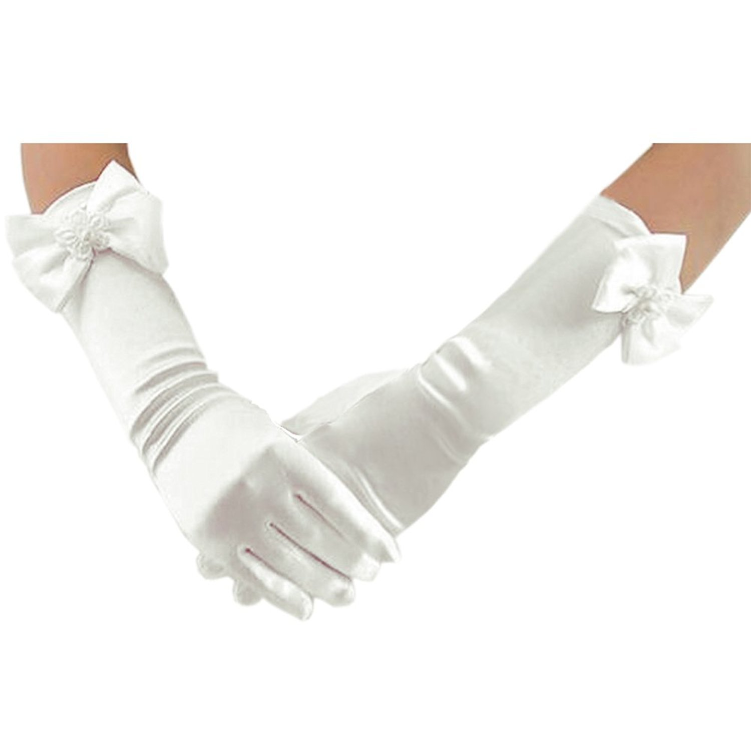 SlenyuBridal Girls Long Special Occasion Gloves Formal Pageant Prom Gloves White One Size