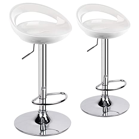 Cool Leader Accessories Set Of 2 Bar Stools Crescent Shape Plastic Abs Adjustable Swivel Large Seats Breakfast Stools For Kitchen Island Bar Ibusinesslaw Wood Chair Design Ideas Ibusinesslaworg