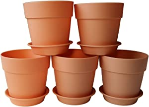 AxeSickle 3.9 Inch Plastic Planter Small Plastic Plant Pot, Indoor Flower Pot, Plant Pot, Mini Flower Seedling Nursery Pot, Flower Pot with Pallet (6pcs Brown)