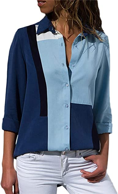 Geilisungren Camiseta de Mujer Sudaderas Manga Larga Ocasionales del Raya Imprimiendo Blusa Boton De La Gasa La Solapa Dobladillo Arriba Color de ...